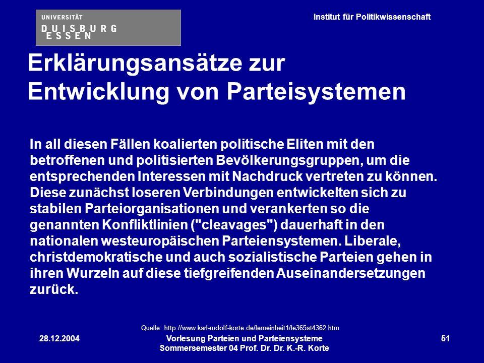 Institut für Politikwissenschaft 28.12.2004Vorlesung Parteien und Parteiensysteme Sommersemester 04 Prof. Dr. Dr. K.-R. Korte 51 In all diesen Fällen