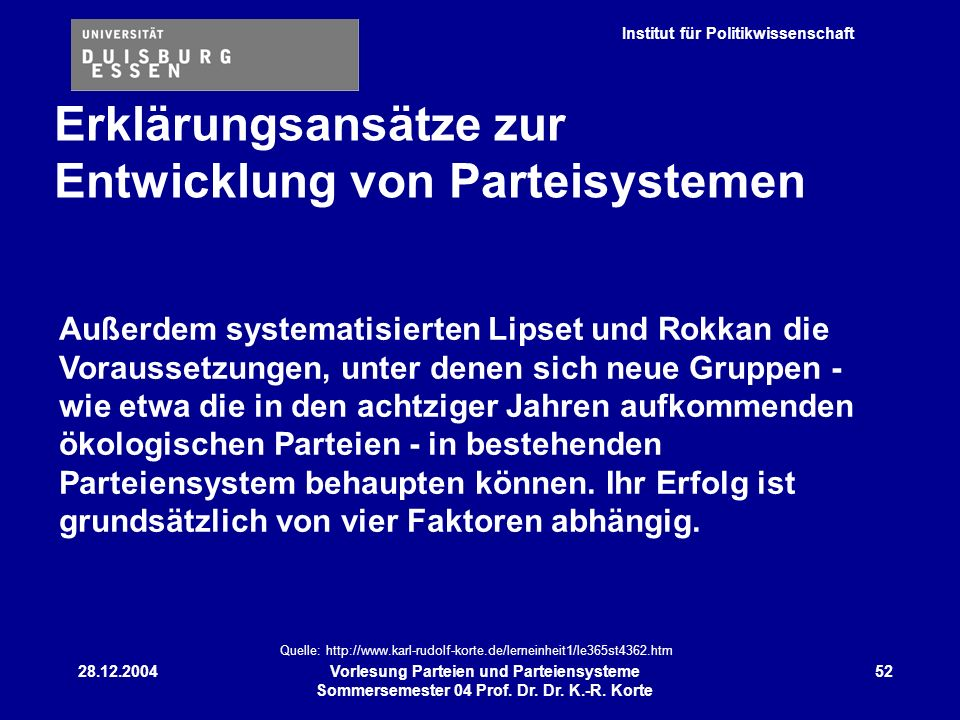 Institut für Politikwissenschaft 28.12.2004Vorlesung Parteien und Parteiensysteme Sommersemester 04 Prof. Dr. Dr. K.-R. Korte 52 Außerdem systematisie