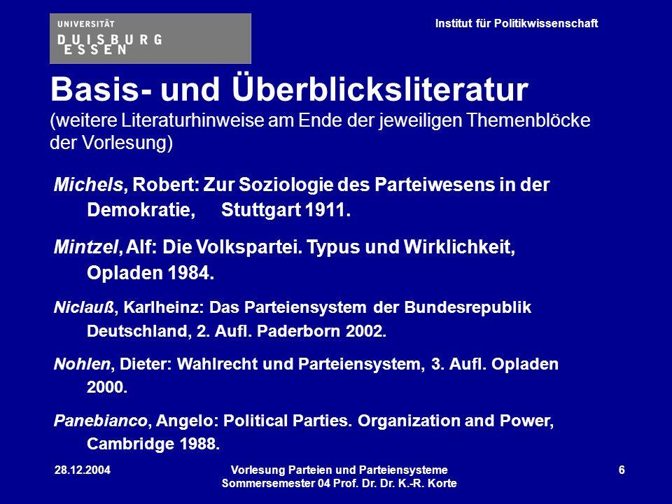 Institut für Politikwissenschaft 28.12.2004Vorlesung Parteien und Parteiensysteme Sommersemester 04 Prof. Dr. Dr. K.-R. Korte 6 Michels, Robert: Zur S