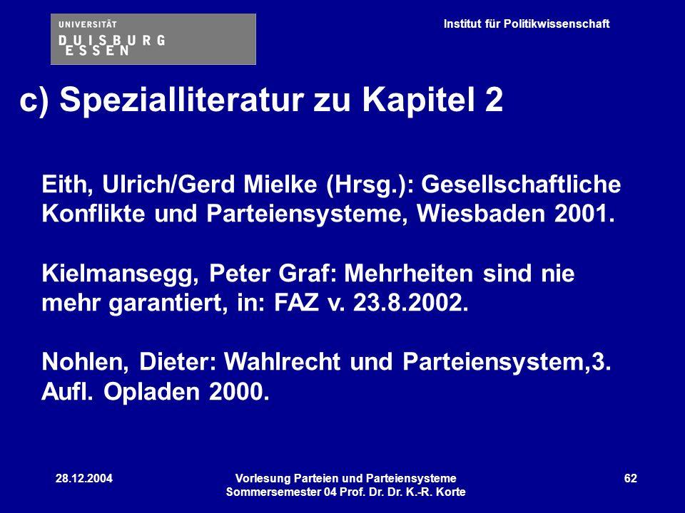 Institut für Politikwissenschaft 28.12.2004Vorlesung Parteien und Parteiensysteme Sommersemester 04 Prof. Dr. Dr. K.-R. Korte 62 c) Spezialliteratur z