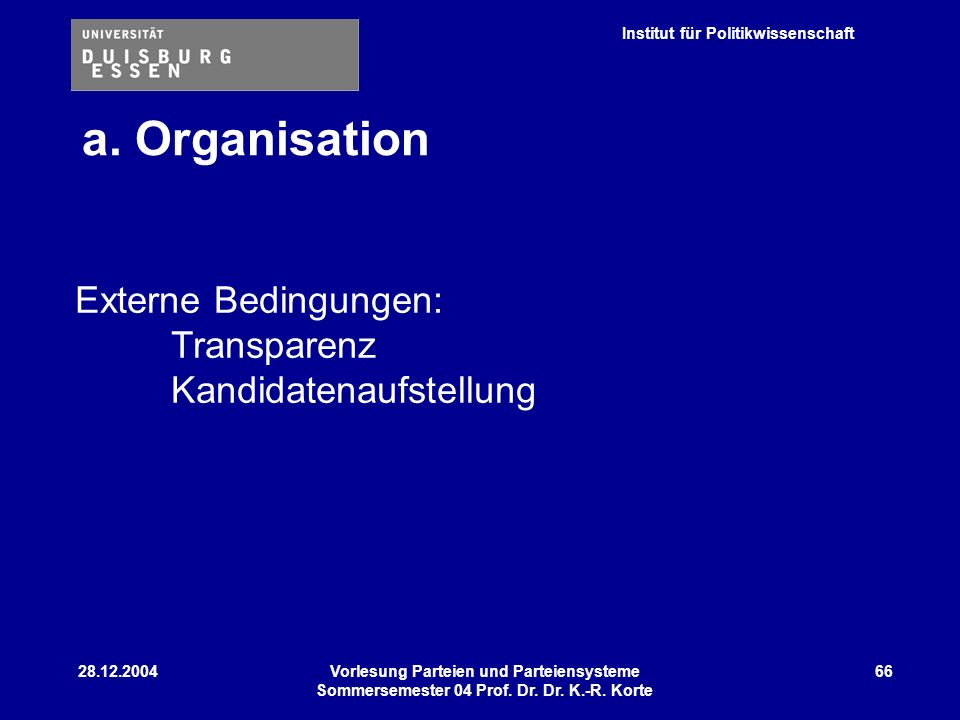 Institut für Politikwissenschaft 28.12.2004Vorlesung Parteien und Parteiensysteme Sommersemester 04 Prof. Dr. Dr. K.-R. Korte 66 Externe Bedingungen: