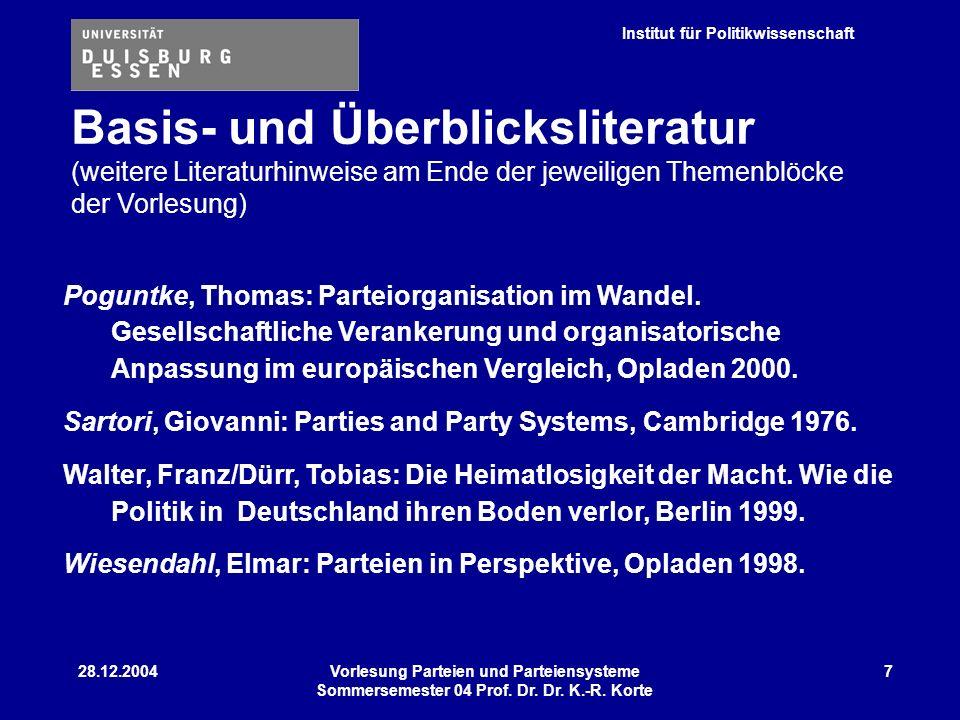 Institut für Politikwissenschaft 28.12.2004Vorlesung Parteien und Parteiensysteme Sommersemester 04 Prof. Dr. Dr. K.-R. Korte 7 Poguntke, Thomas: Part