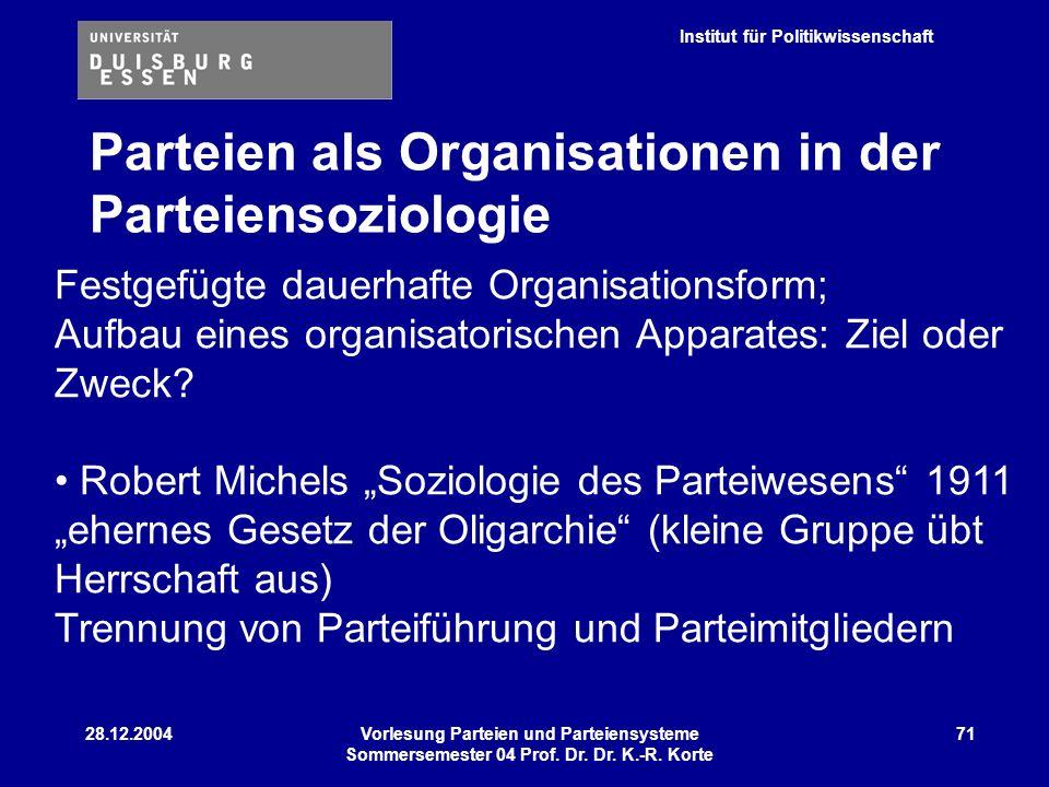 Institut für Politikwissenschaft 28.12.2004Vorlesung Parteien und Parteiensysteme Sommersemester 04 Prof. Dr. Dr. K.-R. Korte 71 Festgefügte dauerhaft
