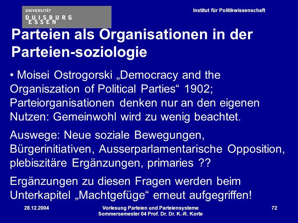 Institut für Politikwissenschaft 28.12.2004Vorlesung Parteien und Parteiensysteme Sommersemester 04 Prof. Dr. Dr. K.-R. Korte 72 Moisei Ostrogorski De
