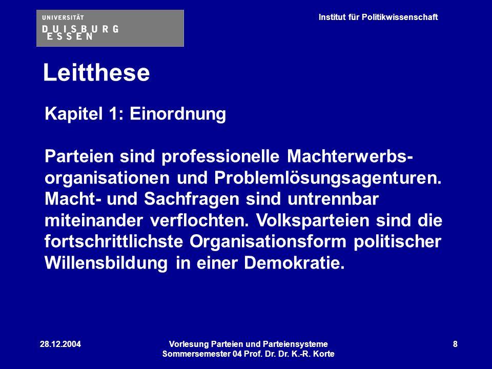 Institut für Politikwissenschaft 28.12.2004Vorlesung Parteien und Parteiensysteme Sommersemester 04 Prof. Dr. Dr. K.-R. Korte 8 Leitthese Kapitel 1: E