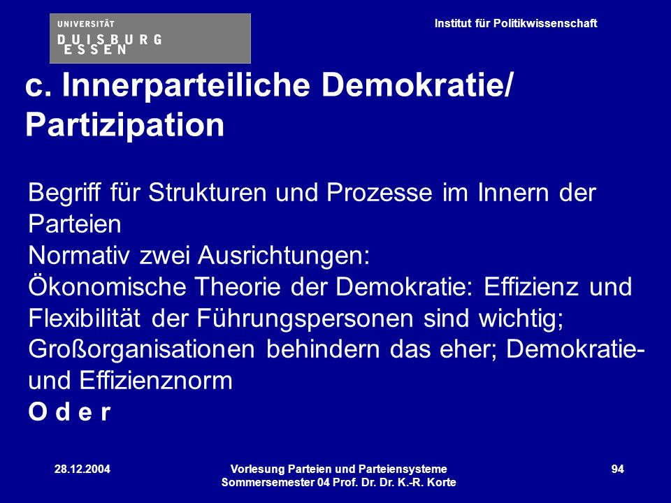 Institut für Politikwissenschaft 28.12.2004Vorlesung Parteien und Parteiensysteme Sommersemester 04 Prof. Dr. Dr. K.-R. Korte 94 Begriff für Strukture