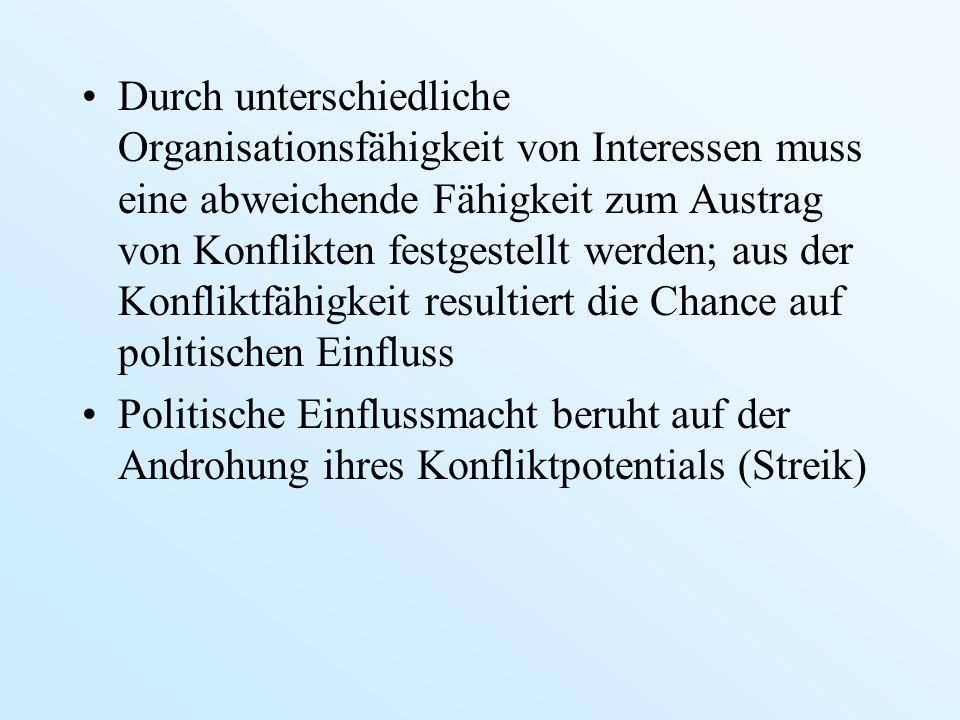 Durch unterschiedliche Organisationsfähigkeit von Interessen muss eine abweichende Fähigkeit zum Austrag von Konflikten festgestellt werden; aus der K