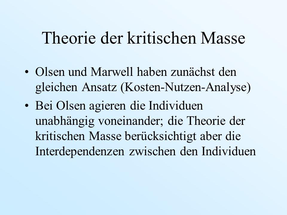 Theorie der kritischen Masse Olsen und Marwell haben zunächst den gleichen Ansatz (Kosten-Nutzen-Analyse) Bei Olsen agieren die Individuen unabhängig