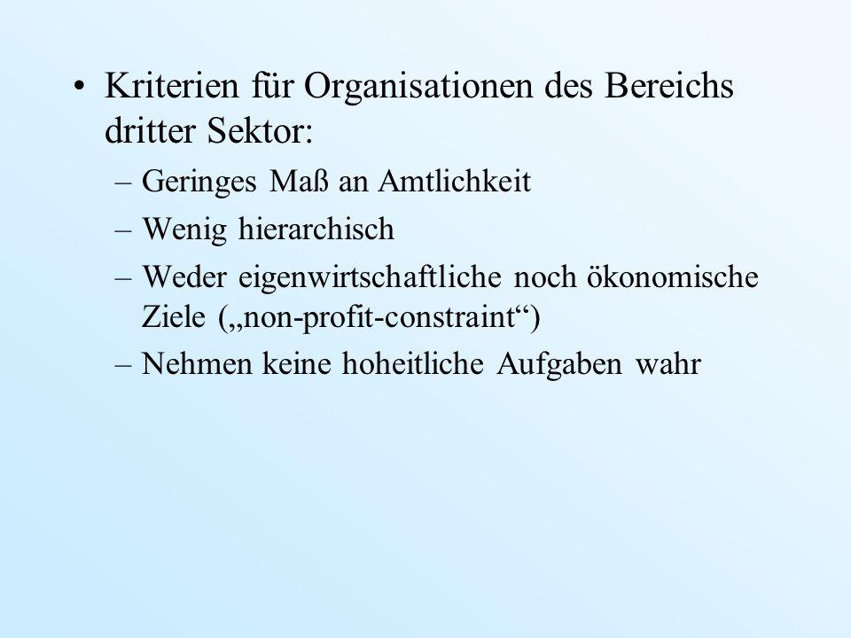 Kriterien für Organisationen des Bereichs dritter Sektor: –Geringes Maß an Amtlichkeit –Wenig hierarchisch –Weder eigenwirtschaftliche noch ökonomisch