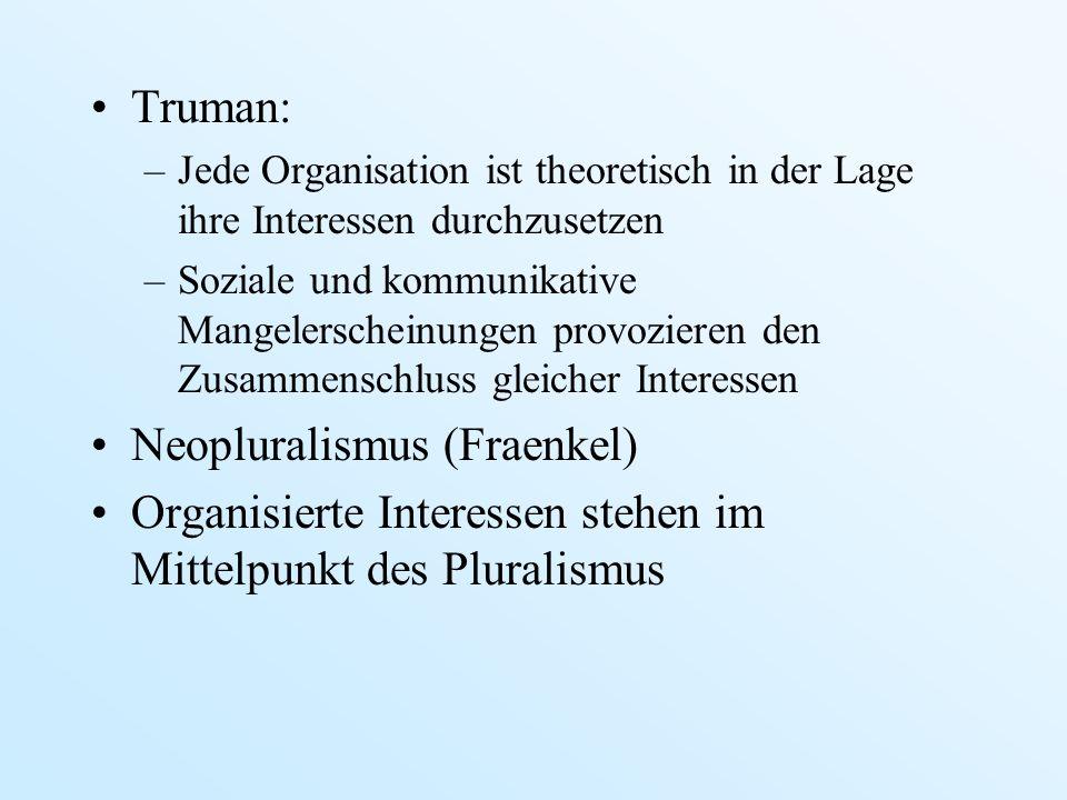 Truman: –Jede Organisation ist theoretisch in der Lage ihre Interessen durchzusetzen –Soziale und kommunikative Mangelerscheinungen provozieren den Zu