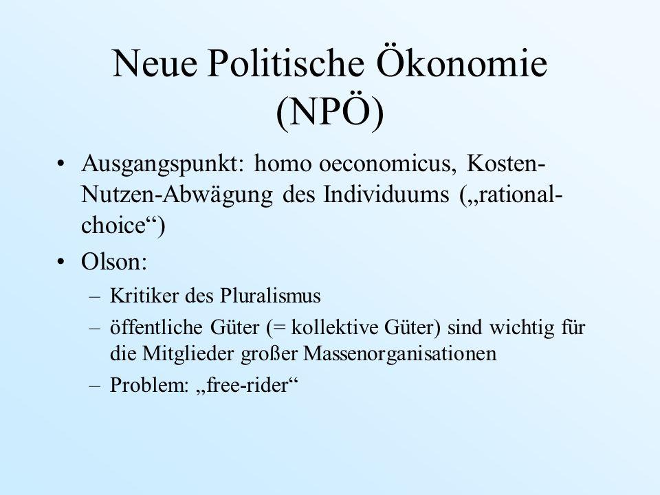 Neue Politische Ökonomie (NPÖ) Ausgangspunkt: homo oeconomicus, Kosten- Nutzen-Abwägung des Individuums (rational- choice) Olson: –Kritiker des Plural