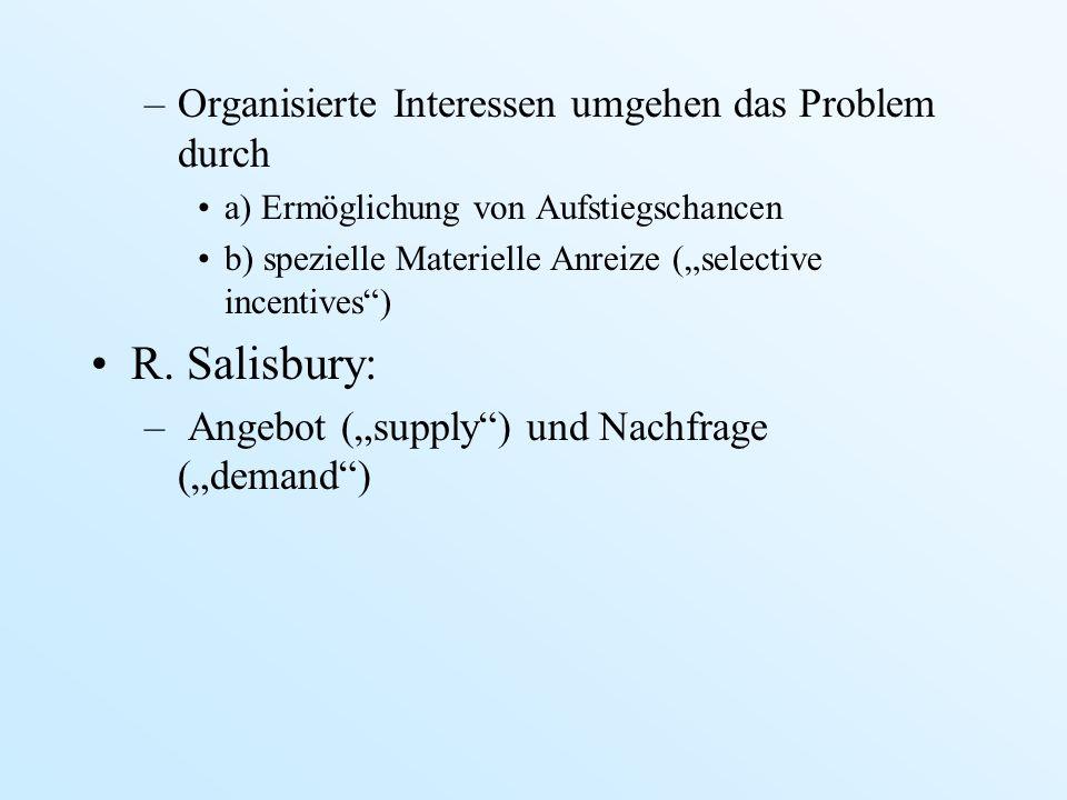 –Organisierte Interessen umgehen das Problem durch a) Ermöglichung von Aufstiegschancen b) spezielle Materielle Anreize (selective incentives) R. Sali