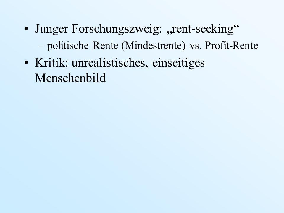 Junger Forschungszweig: rent-seeking –politische Rente (Mindestrente) vs. Profit-Rente Kritik: unrealistisches, einseitiges Menschenbild