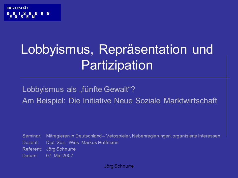 Jörg Schnurre Lobbyismus, Repräsentation und Partizipation Lobbyismus als fünfte Gewalt? Am Beispiel: Die Initiative Neue Soziale Marktwirtschaft Semi