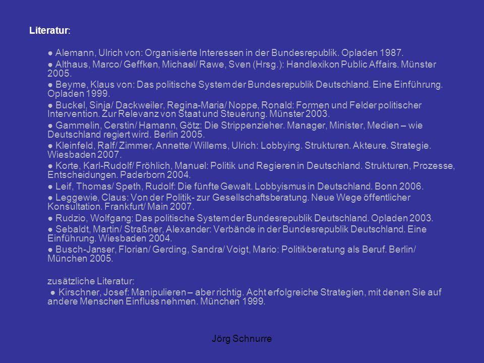 Jörg Schnurre Literatur: Alemann, Ulrich von: Organisierte Interessen in der Bundesrepublik. Opladen 1987. Althaus, Marco/ Geffken, Michael/ Rawe, Sve