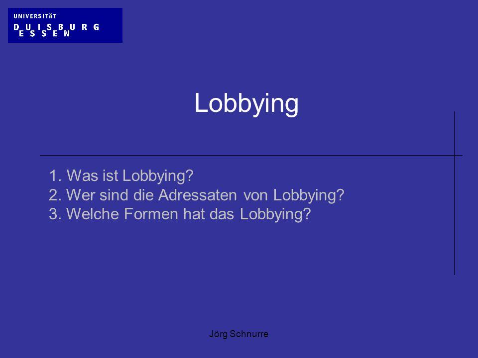 Jörg Schnurre Lobbying 1.Was ist Lobbying? 2. Wer sind die Adressaten von Lobbying? 3. Welche Formen hat das Lobbying?