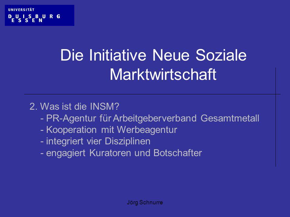 Jörg Schnurre Die Initiative Neue Soziale Marktwirtschaft 2. Was ist die INSM? - PR-Agentur für Arbeitgeberverband Gesamtmetall - Kooperation mit Werb