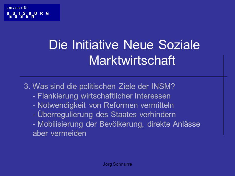 Jörg Schnurre Die Initiative Neue Soziale Marktwirtschaft 3. Was sind die politischen Ziele der INSM? - Flankierung wirtschaftlicher Interessen - Notw