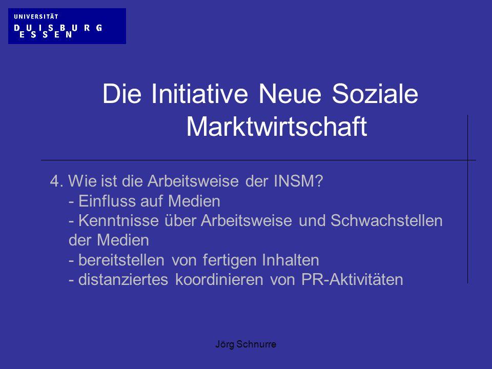 Jörg Schnurre Die Initiative Neue Soziale Marktwirtschaft 4. Wie ist die Arbeitsweise der INSM? - Einfluss auf Medien - Kenntnisse über Arbeitsweise u