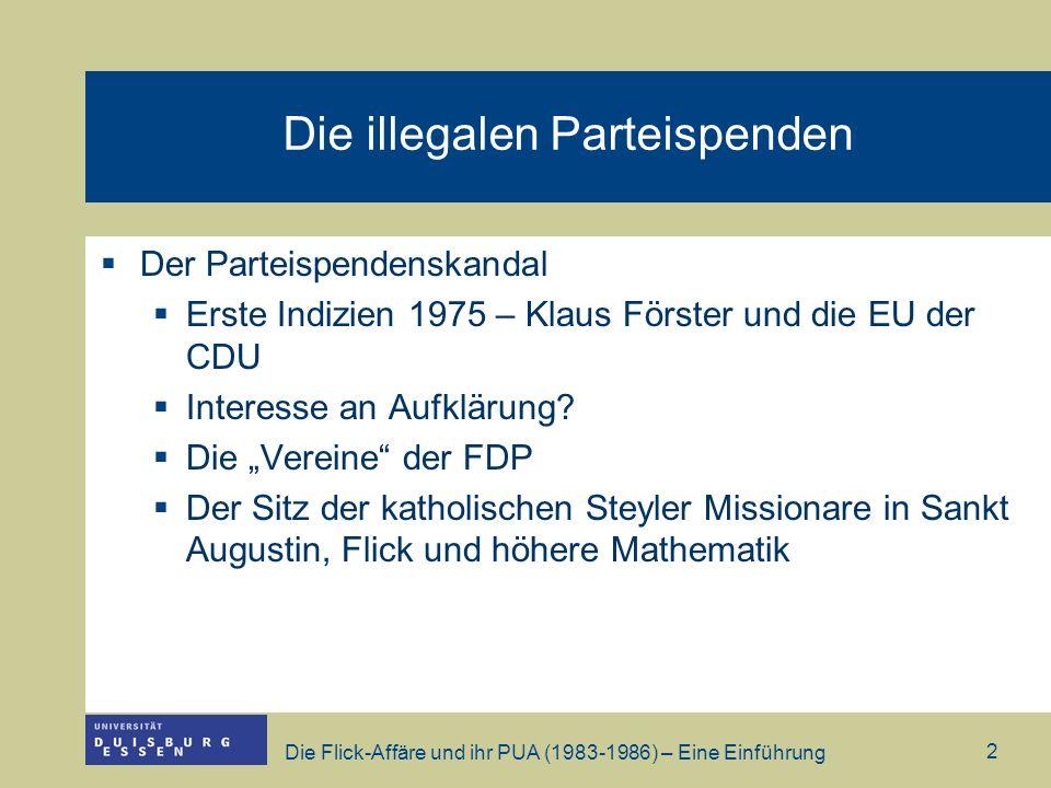 Die Flick-Affäre und ihr PUA (1983-1986) – Eine Einführung 2 Die illegalen Parteispenden Der Parteispendenskandal Erste Indizien 1975 – Klaus Förster