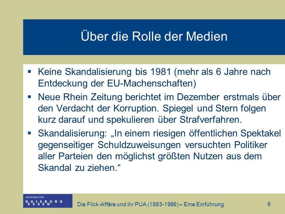 Die Flick-Affäre und ihr PUA (1983-1986) – Eine Einführung 7 Konsequenzen der Affäre 26.06.1984 – Graff Lambsdorff tritt als BWM zurück, nachdem Anklage wegen Steuerhinterziehung und Bestechlichkeit zugelassen wird 05.09.1984 – Hans Friderichs (mittlerweile Vorstandssprecher Dresdener Bank) tritt zurück 25.10.1984 – Rainer Barzel (Präsident BT) tritt zurück, nachdem bekannt wird, dass er 1,7 Mio.