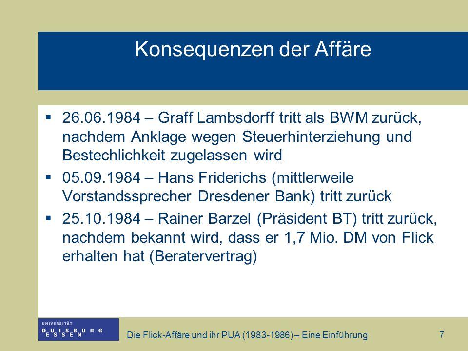 Die Flick-Affäre und ihr PUA (1983-1986) – Eine Einführung 7 Konsequenzen der Affäre 26.06.1984 – Graff Lambsdorff tritt als BWM zurück, nachdem Ankla
