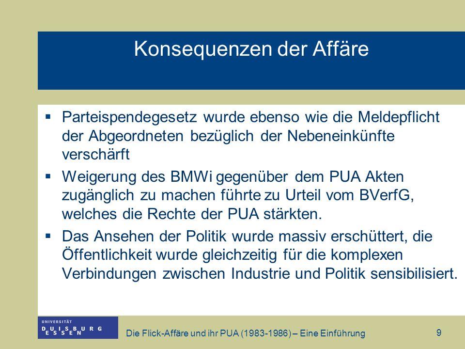 Die Flick-Affäre und ihr PUA (1983-1986) – Eine Einführung 10 Chronologie der Flick-Affäre: http://www.phil.uni- passau.de/politik/_ss05/wanninger/medien_skandale/Seminarunterlagen_2 9_4_05.pdf (14.11.2006).