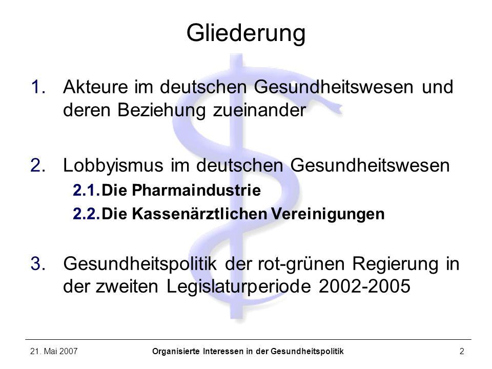 21. Mai 2007Organisierte Interessen in der Gesundheitspolitik2 Gliederung 1.Akteure im deutschen Gesundheitswesen und deren Beziehung zueinander 2.Lob