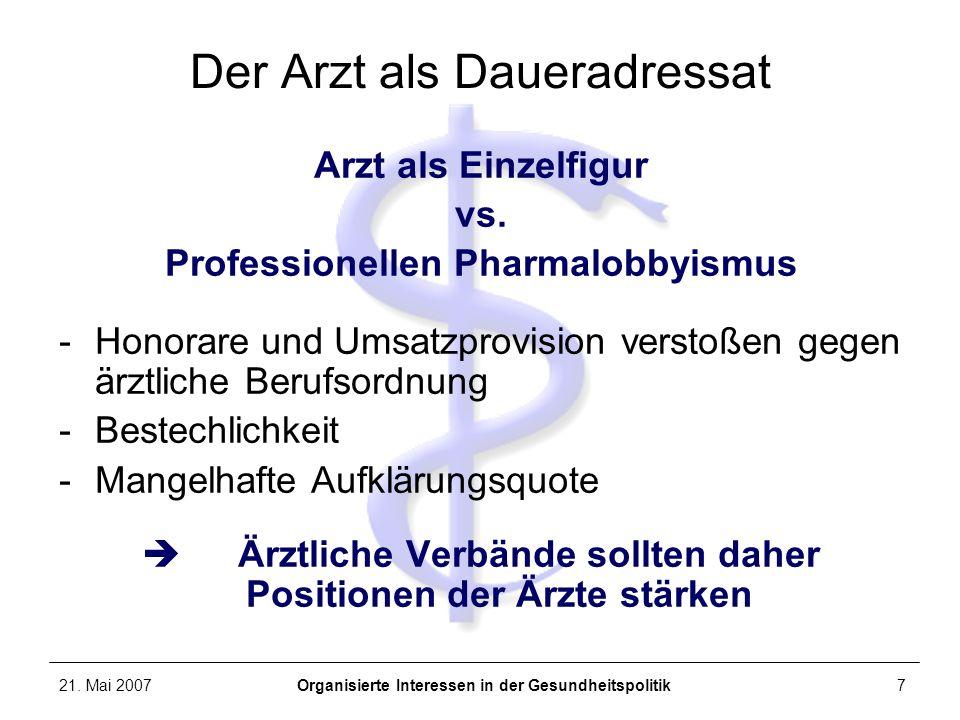 21. Mai 2007Organisierte Interessen in der Gesundheitspolitik7 Der Arzt als Daueradressat Arzt als Einzelfigur vs. Professionellen Pharmalobbyismus -H