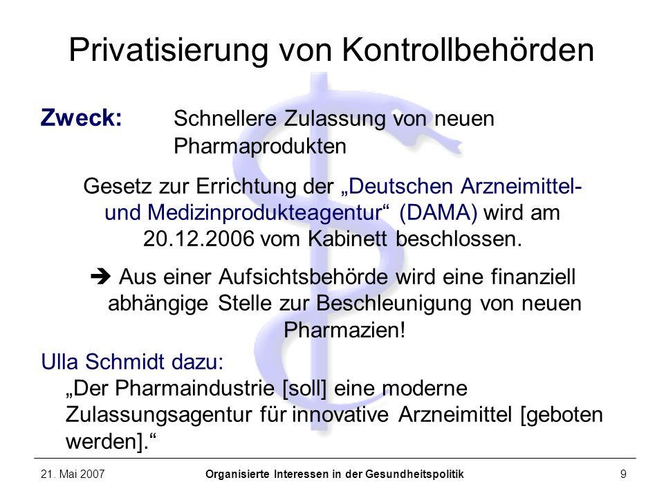 21. Mai 2007Organisierte Interessen in der Gesundheitspolitik9 Privatisierung von Kontrollbehörden Zweck: Schnellere Zulassung von neuen Pharmaprodukt