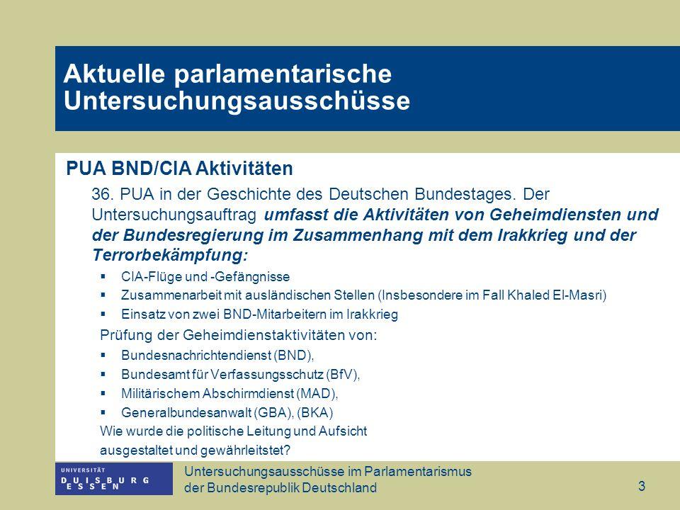Untersuchungsausschüsse im Parlamentarismus der Bundesrepublik Deutschland 3 PUA BND/CIA Aktivitäten 36.