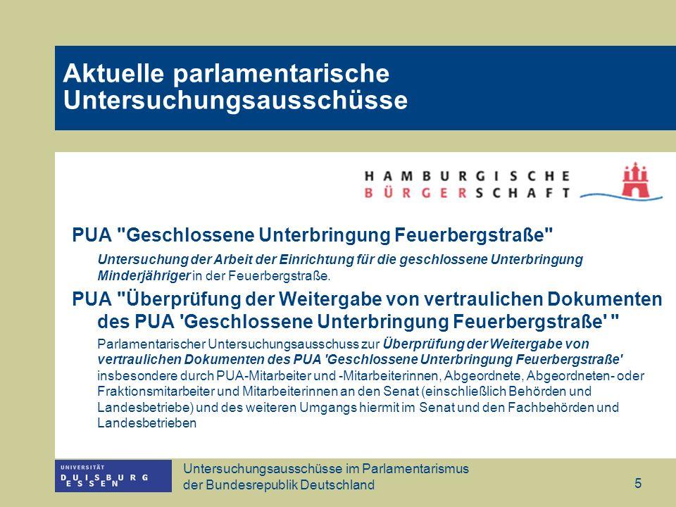 Untersuchungsausschüsse im Parlamentarismus der Bundesrepublik Deutschland 5 PUA Geschlossene Unterbringung Feuerbergstraße Untersuchung der Arbeit der Einrichtung für die geschlossene Unterbringung Minderjähriger in der Feuerbergstraße.