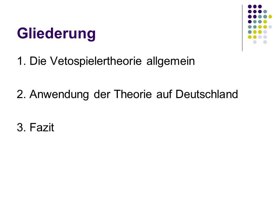 Gliederung 1. Die Vetospielertheorie allgemein 2. Anwendung der Theorie auf Deutschland 3. Fazit