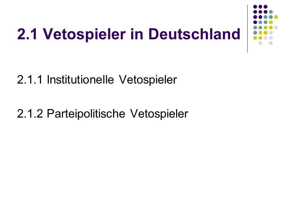 2.1 Vetospieler in Deutschland 2.1.1 Institutionelle Vetospieler 2.1.2 Parteipolitische Vetospieler