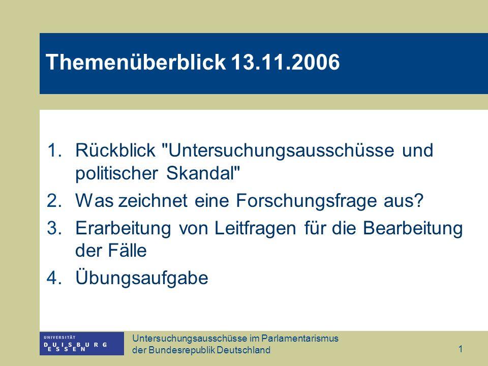 Untersuchungsausschüsse im Parlamentarismus der Bundesrepublik Deutschland 1 Themenüberblick 13.11.2006 1.Rückblick