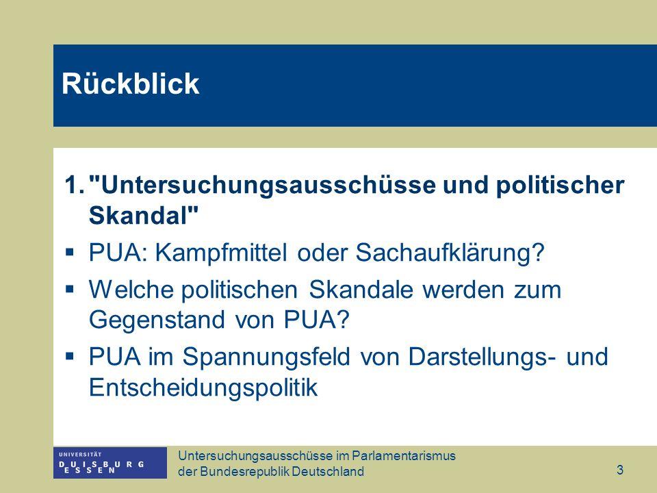 Untersuchungsausschüsse im Parlamentarismus der Bundesrepublik Deutschland 3 Rückblick 1.