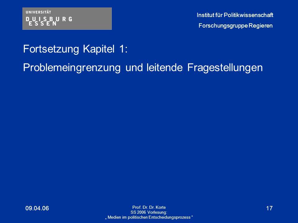 Institut für Politikwissenschaft Forschungsgruppe Regieren 09.04.06 Prof.