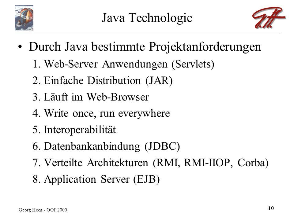 Georg Heeg - OOP 2000 10 Java Technologie Durch Java bestimmte Projektanforderungen 1.