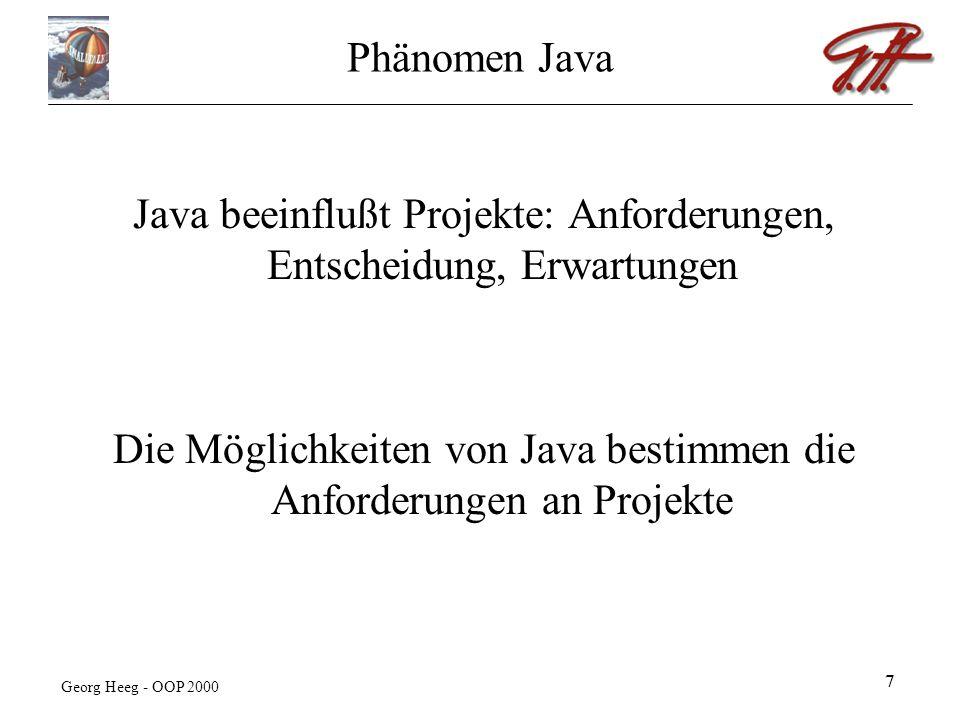 Georg Heeg - OOP 2000 8 Java Technologie JTS, JDK 1.1.8, Java Servlet, JMS, JRE 1.2.2, Java Media Framework, JDBC, Java IDL, JTA, JDK 1.2.2, BDK, Java 2D, RMI-IIOP, JMAPI, Java Mail, JRE 1.1.8, JDNI, Java Server Pages, EJB, Java Help, COMM, Java Beans, Swing, RMI, JDK 1.0.2, Hot Spot, JMX, JCE, Info Bus, JSSE, JFC, Java 3D, JAF, JAAS Aktuelle Technologien einschl.