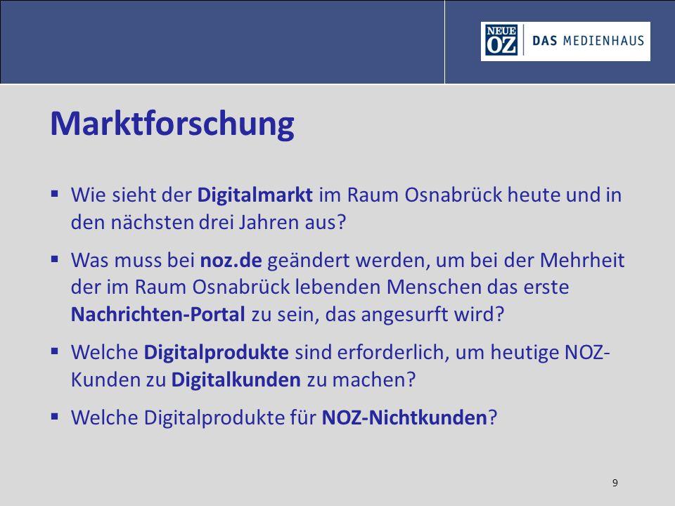 9 Marktforschung Wie sieht der Digitalmarkt im Raum Osnabrück heute und in den nächsten drei Jahren aus? Was muss bei noz.de geändert werden, um bei d