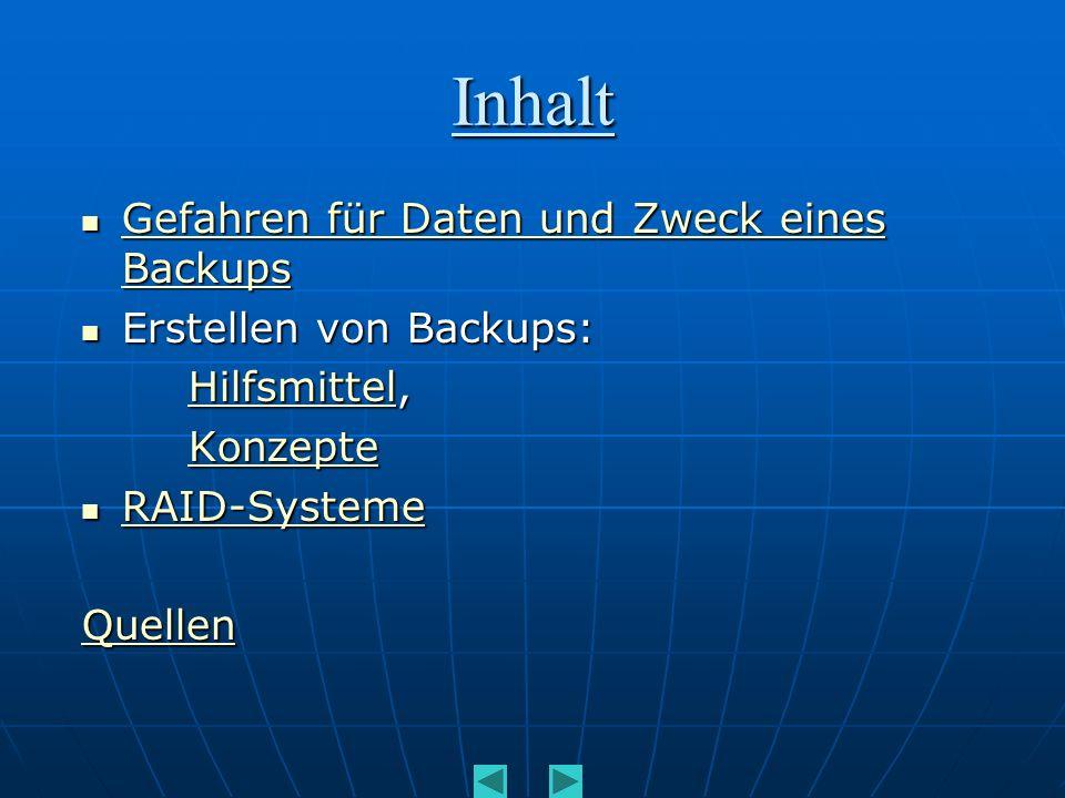 Inhalt Gefahren für Daten und Zweck eines Backups Gefahren für Daten und Zweck eines Backups Gefahren für Daten und Zweck eines Backups Gefahren für D