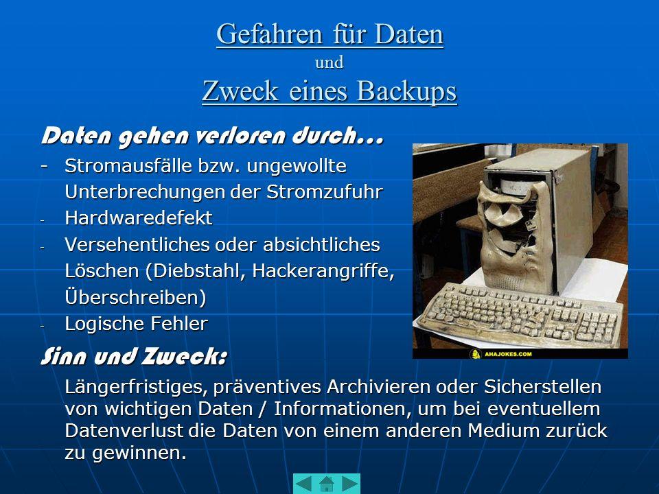 Erstellen von Backups I - Hilfsmittel Manuelles Kopieren auf einen beliebigen Datenträger, wie externe Festplatten, schreibgeschützte Partitionen, CDs und DVDs Manuelles Kopieren auf einen beliebigen Datenträger, wie externe Festplatten, schreibgeschützte Partitionen, CDs und DVDs Spezielle entwickelte Datensicherungssoftware Spezielle entwickelte DatensicherungssoftwareBsp.: BackupExec (neuerdings Backup MyPC) BackupExec (neuerdings Backup MyPC) Backer Backer Z-D Backup Z-D Backup O&O Disk Recovery O&O Disk Recovery Verschiedene Programme von Verschiedene Programme von Steganos, Norton, Arconis, uvm.