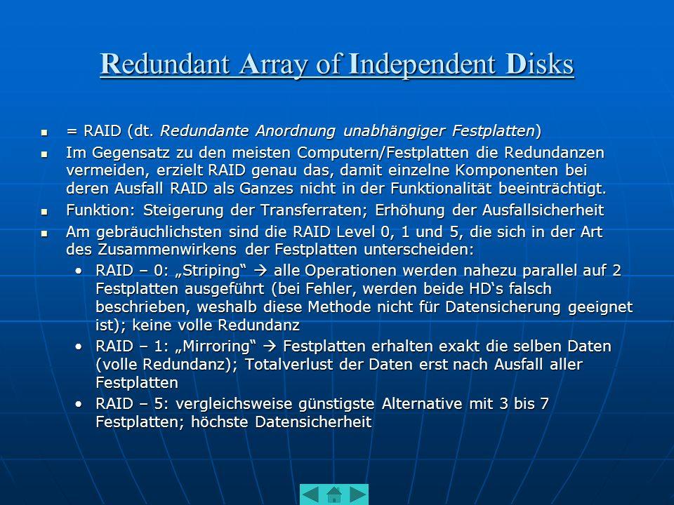 Redundant Array of Independent Disks = RAID (dt. Redundante Anordnung unabhängiger Festplatten) = RAID (dt. Redundante Anordnung unabhängiger Festplat