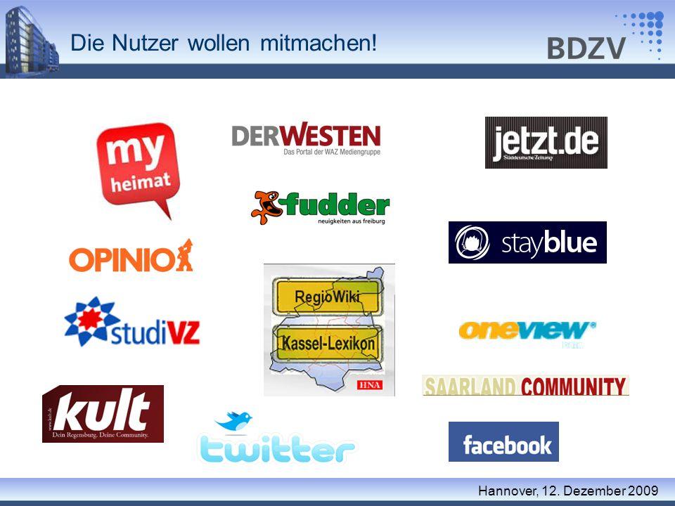 Die Nutzer wollen mitmachen! Hannover, 12. Dezember 2009
