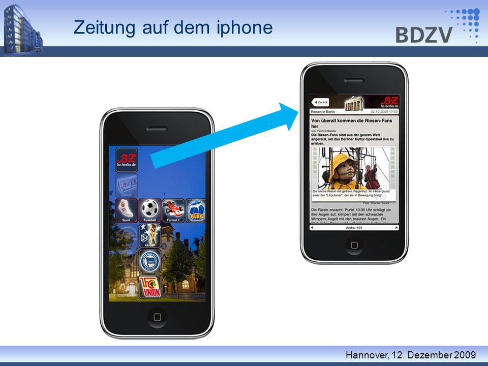 Zeitung auf dem iphone Hannover, 12. Dezember 2009