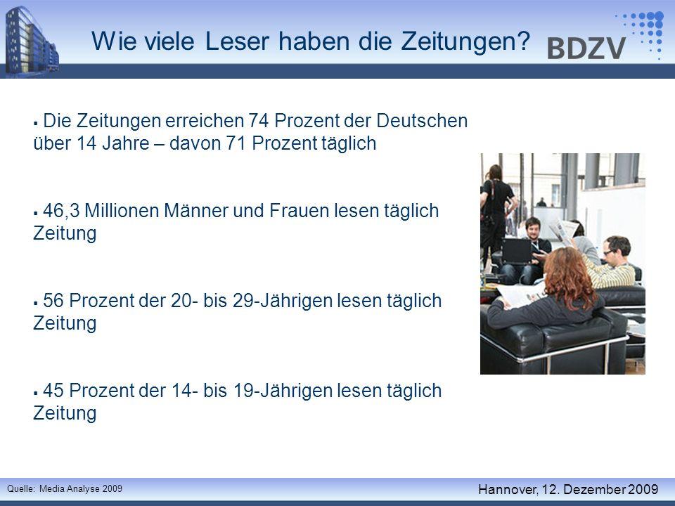 Reichweitenentwicklung der Tageszeitungen 1993 – 2008 (in Prozent nach Altersgruppen) Quelle: ag.ma Berichtsbände Hannover, 12.