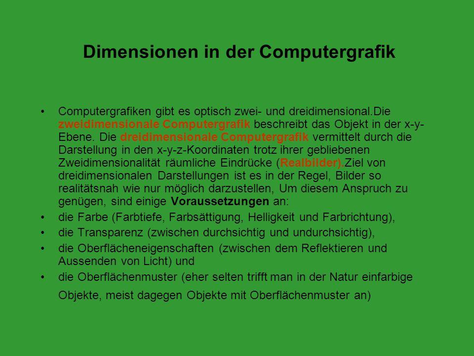 Dimensionen in der Computergrafik Computergrafiken gibt es optisch zwei- und dreidimensional.Die zweidimensionale Computergrafik beschreibt das Objekt
