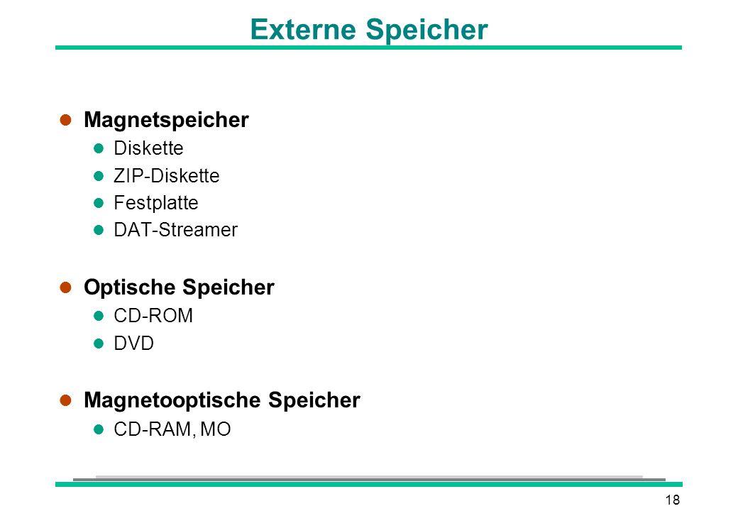18 Externe Speicher l Magnetspeicher l Diskette l ZIP-Diskette l Festplatte l DAT-Streamer l Optische Speicher l CD-ROM l DVD l Magnetooptische Speich