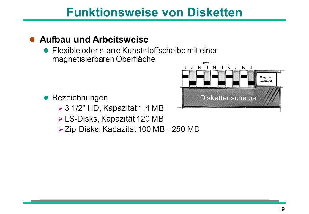 19 Funktionsweise von Disketten l Aufbau und Arbeitsweise l Flexible oder starre Kunststoffscheibe mit einer magnetisierbaren Oberfläche l Bezeichnung