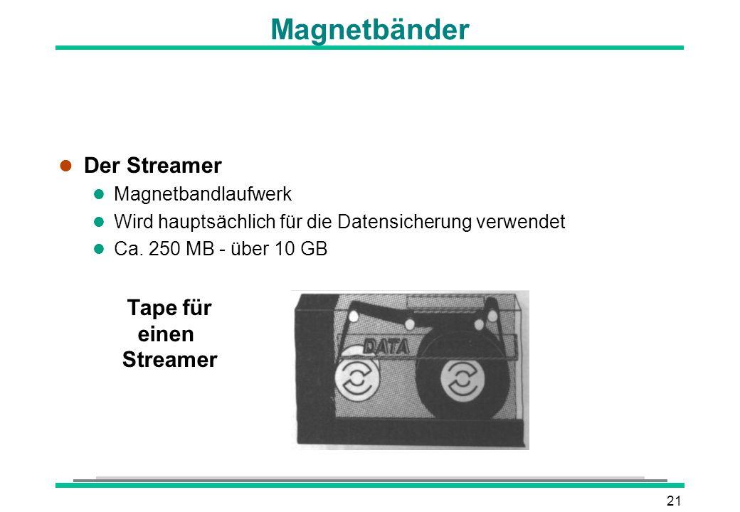 21 Tape für einen Streamer Magnetbänder l Der Streamer l Magnetbandlaufwerk l Wird hauptsächlich für die Datensicherung verwendet l Ca. 250 MB - über